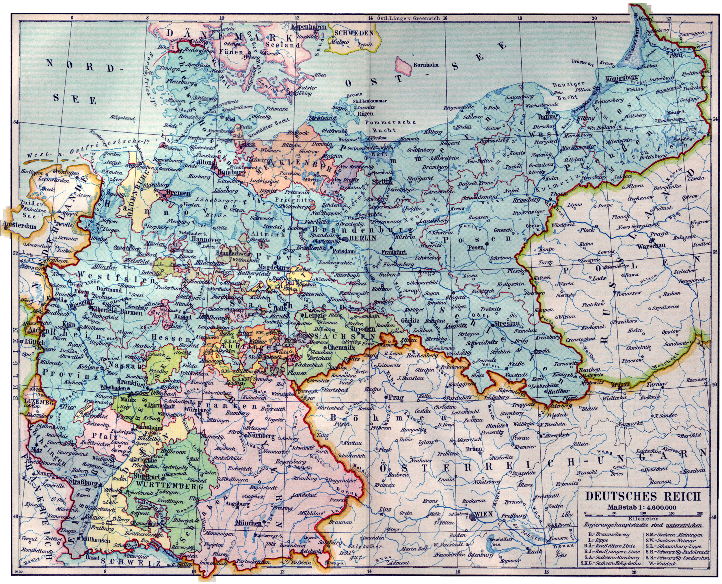 File Karte Deutsches Reich 1892 Jpg Wikimedia Commons