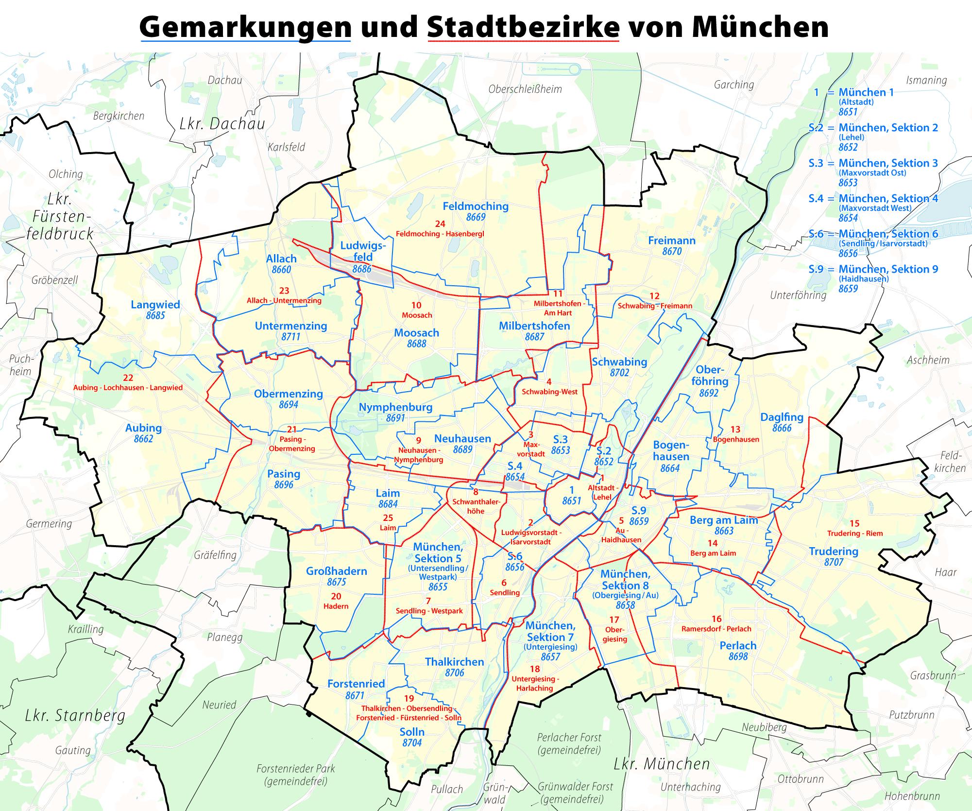 Karte München Stadtteile.File Karte Der Gemarkungen Und Stadtbezirke In München Png