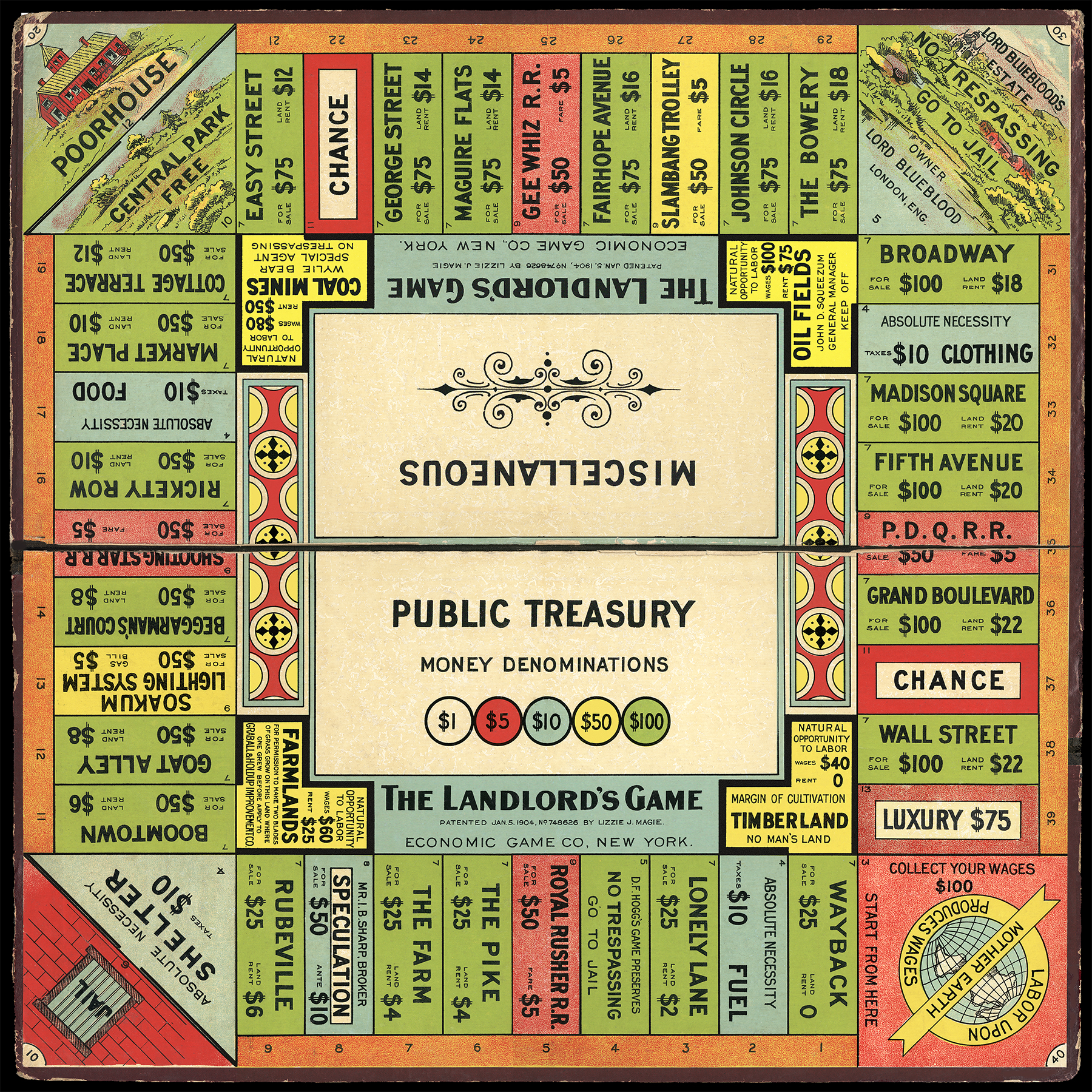 """A colorful square board game labeled """"The Landlord's Game consists of green, blue, pink, and yellow labeled squares wrapping around the edges of the board. Lizzie J. Magie, """"The Landlord's Game board."""" Created in 1906. Image courtesy of Thomas Forsyth, Wikimedia Commons."""