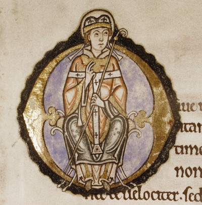 An illuminated archbishop--presumably Anselm--from a 12th-century edition of his Meditations Littlemore.jpg