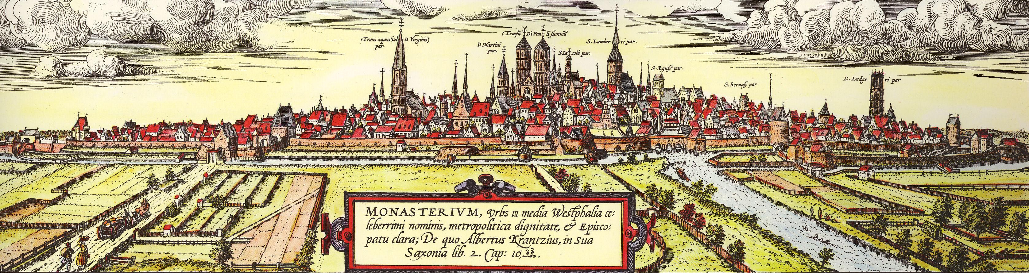Blick von Süd Westen auf Münster eine Arbeit von Remigius Hogenberg aus dem Jahr 1570 basierend auf einer älteren Zeichnung von Hermann tom Ring