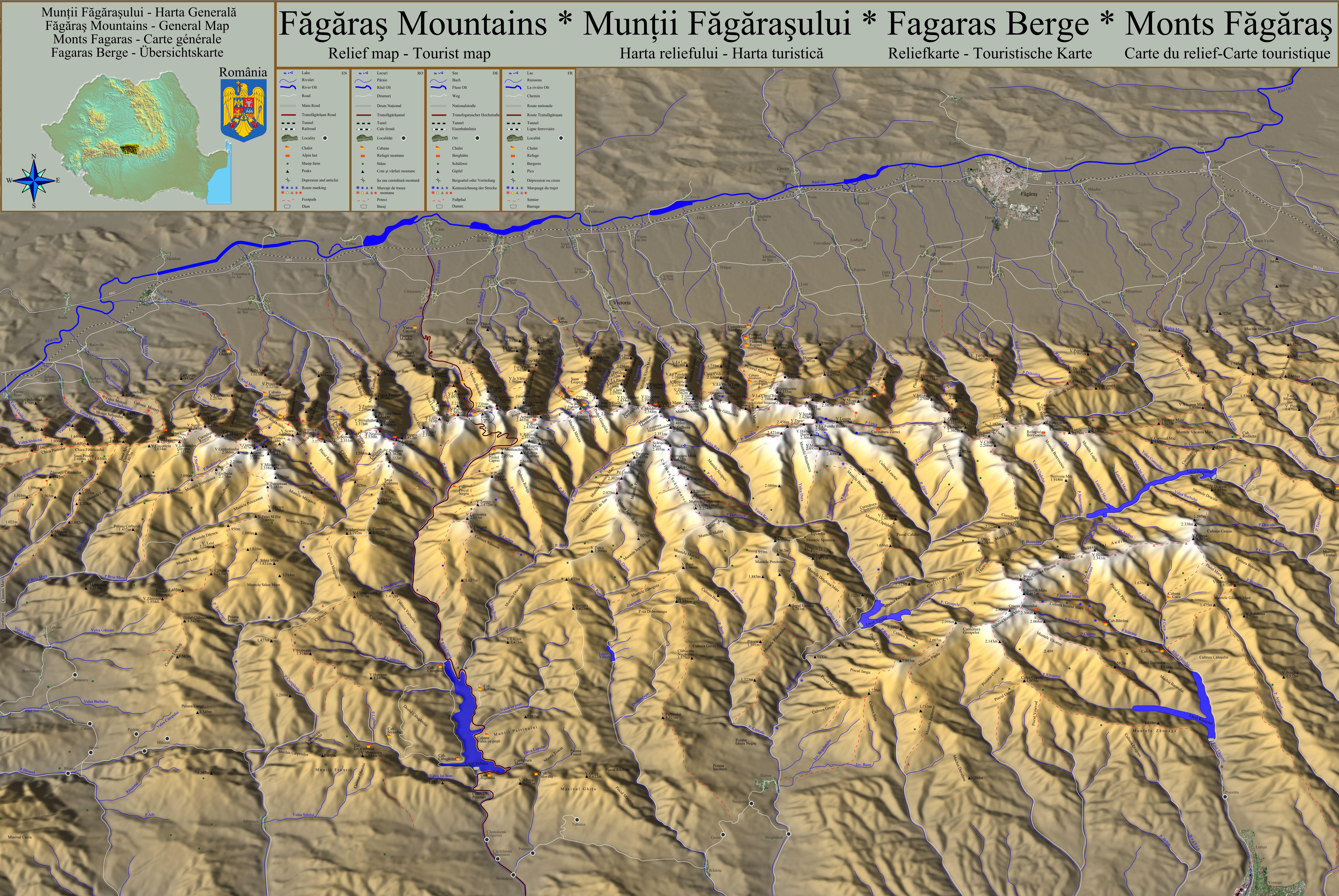 File Muntii Fagarasului Harta Turistica Si A Reliefului Jpg