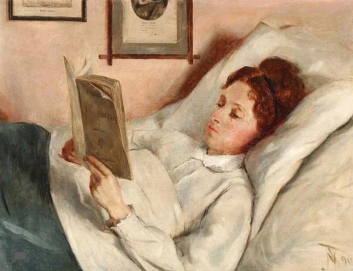 File:Nicoline Tuxen - Portrait of a woman reading in bed.jpg