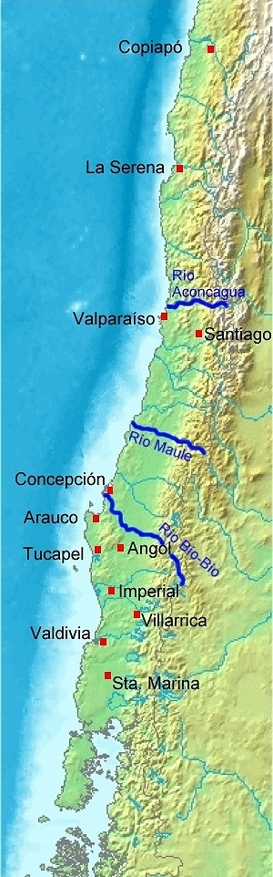 Spanish settlements in Chile before the Destruction of the Seven Cities; in 1604, all settlements south Biob o River except those in Chilo had fallen.