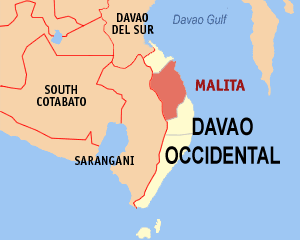 Map of Davao Occidental showing the location of Malita