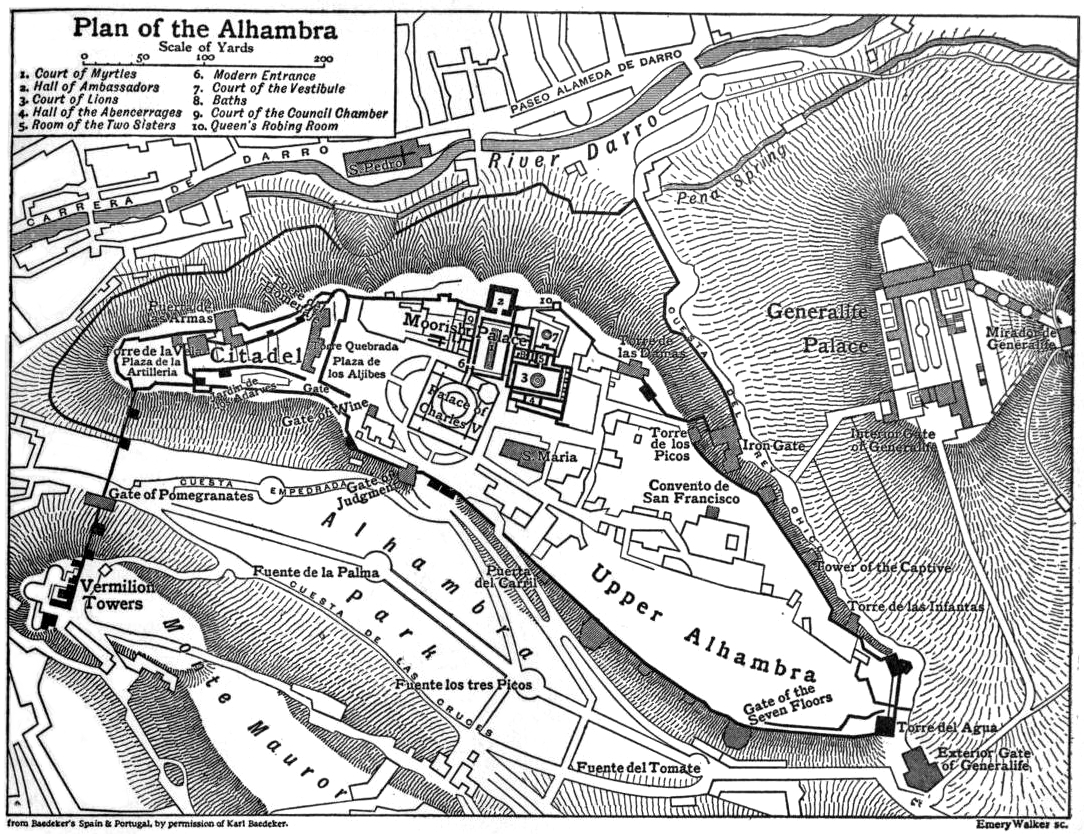 Plan of the Alhambra (from the 1911 Britannica)