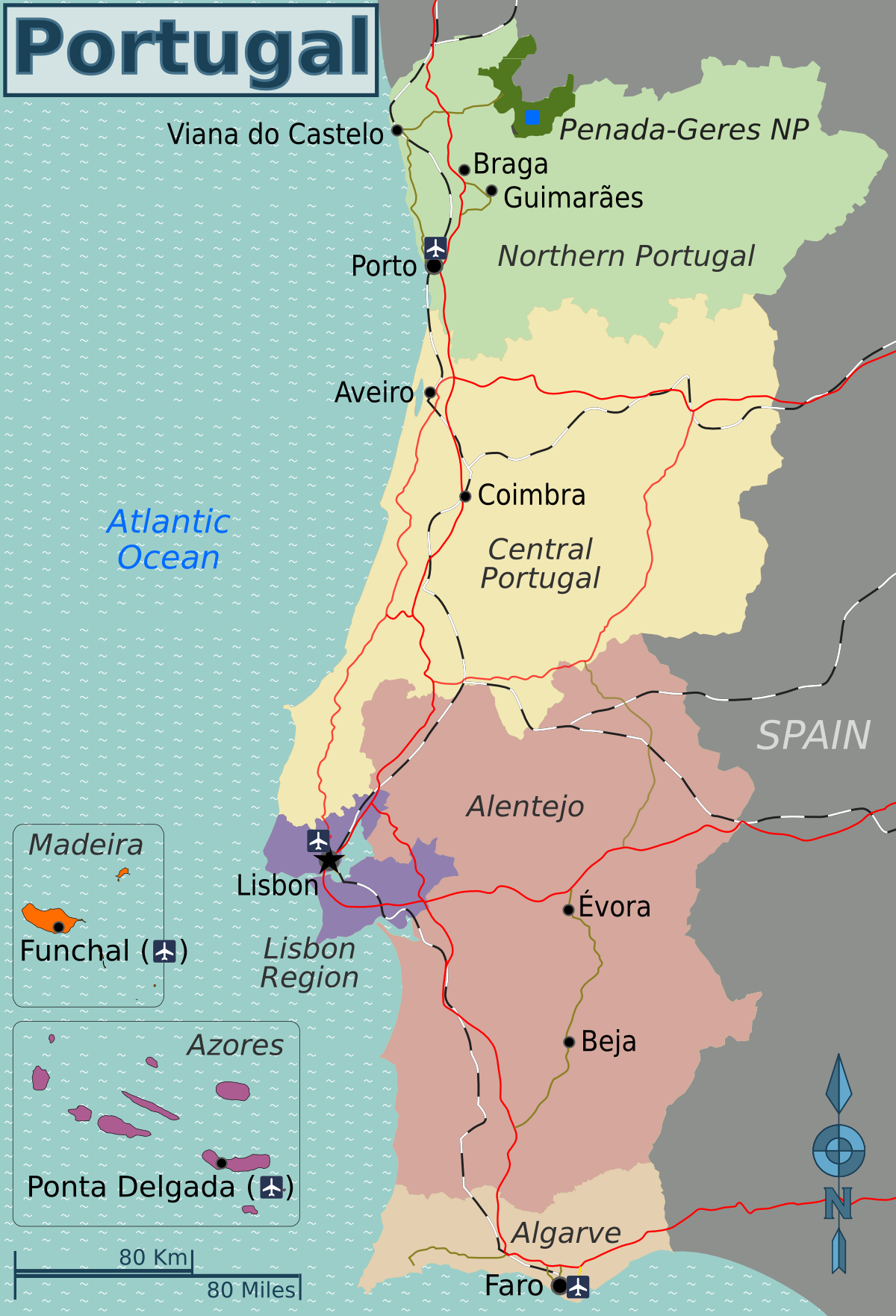 FilePortugal Regions Travel Map ENpng Wikimedia Commons - Portugal map wikipedia