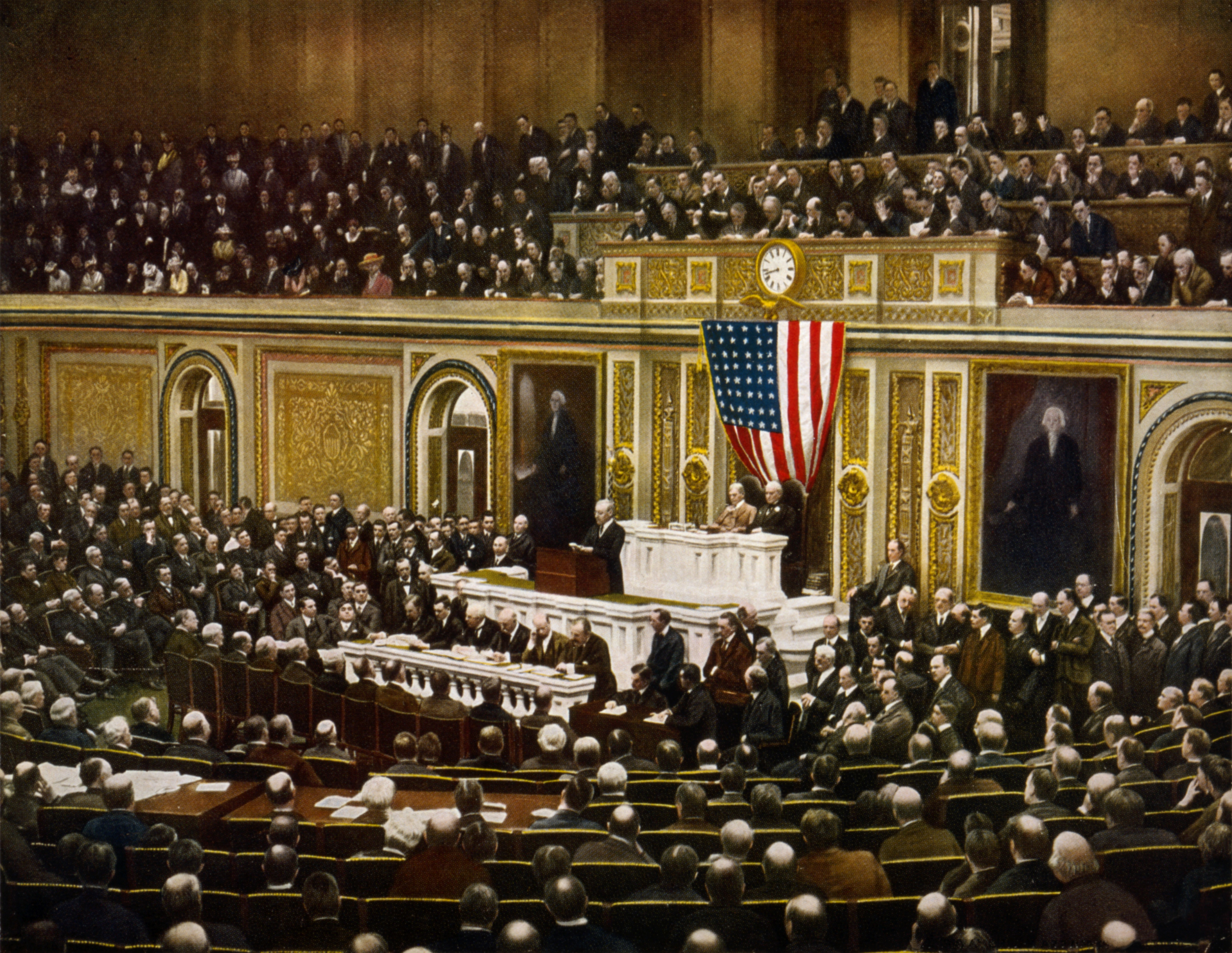 Description President Woodrow Wilson asking Congress to declare war on