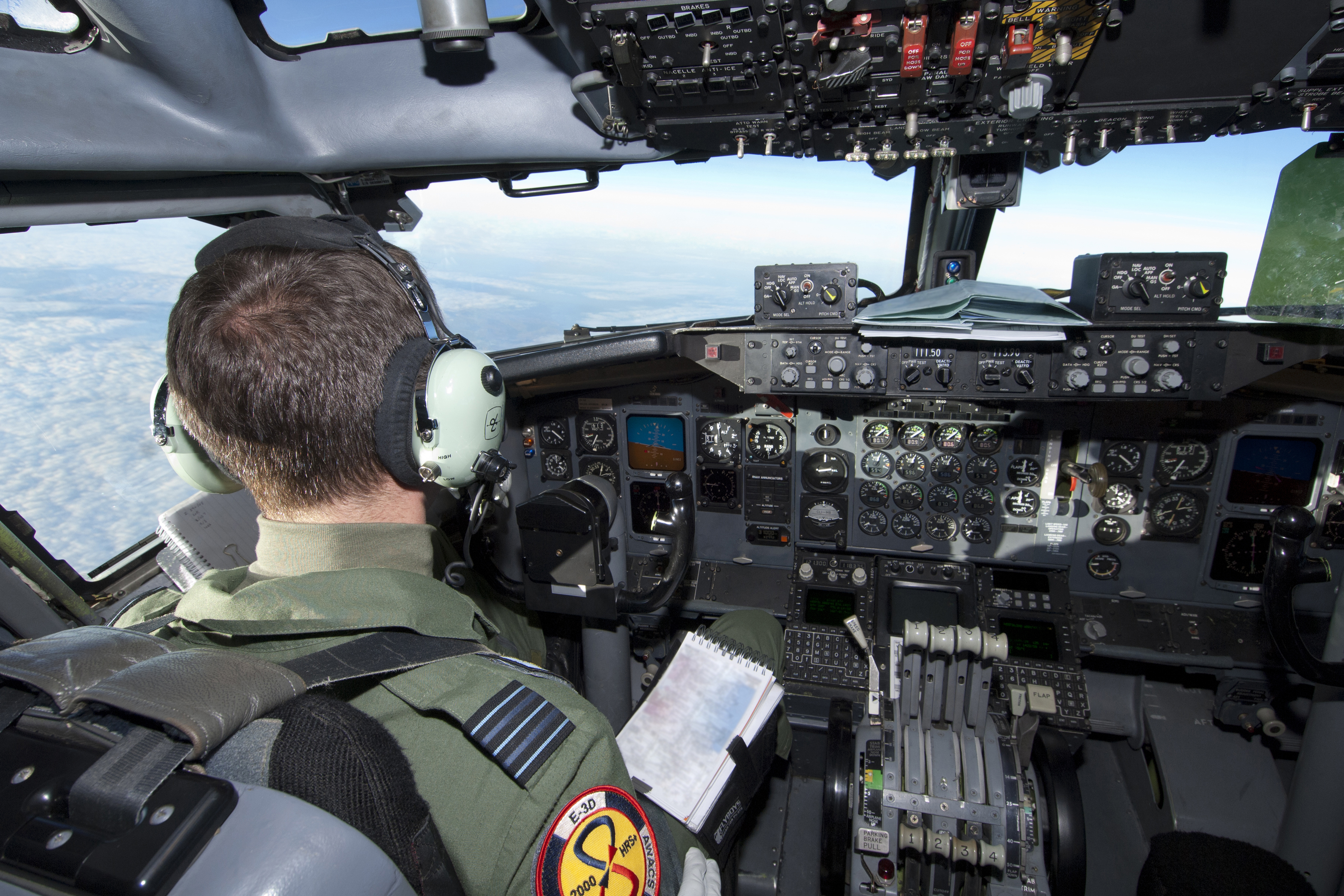 File:RAF E-3D Sentry AEW1 Pilot in the Cockpit MOD 45152316 jpg
