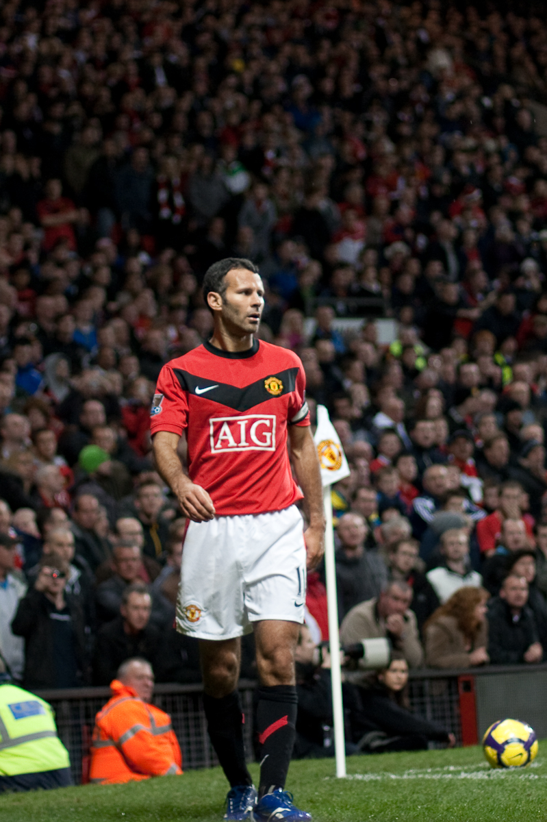 Ryan Giggs of Manchester United near the corner flag, Old Trafford, Manchester