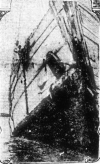 A close up of the San Pedro's bow, showing the damage sustained in the collision with the Columbia.