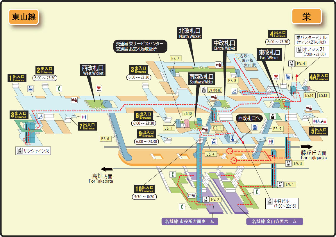 Nagoya Subway Map Pdf.File Sakae Station Map Nagoya Subway S Higashiyama Line 2014 Png