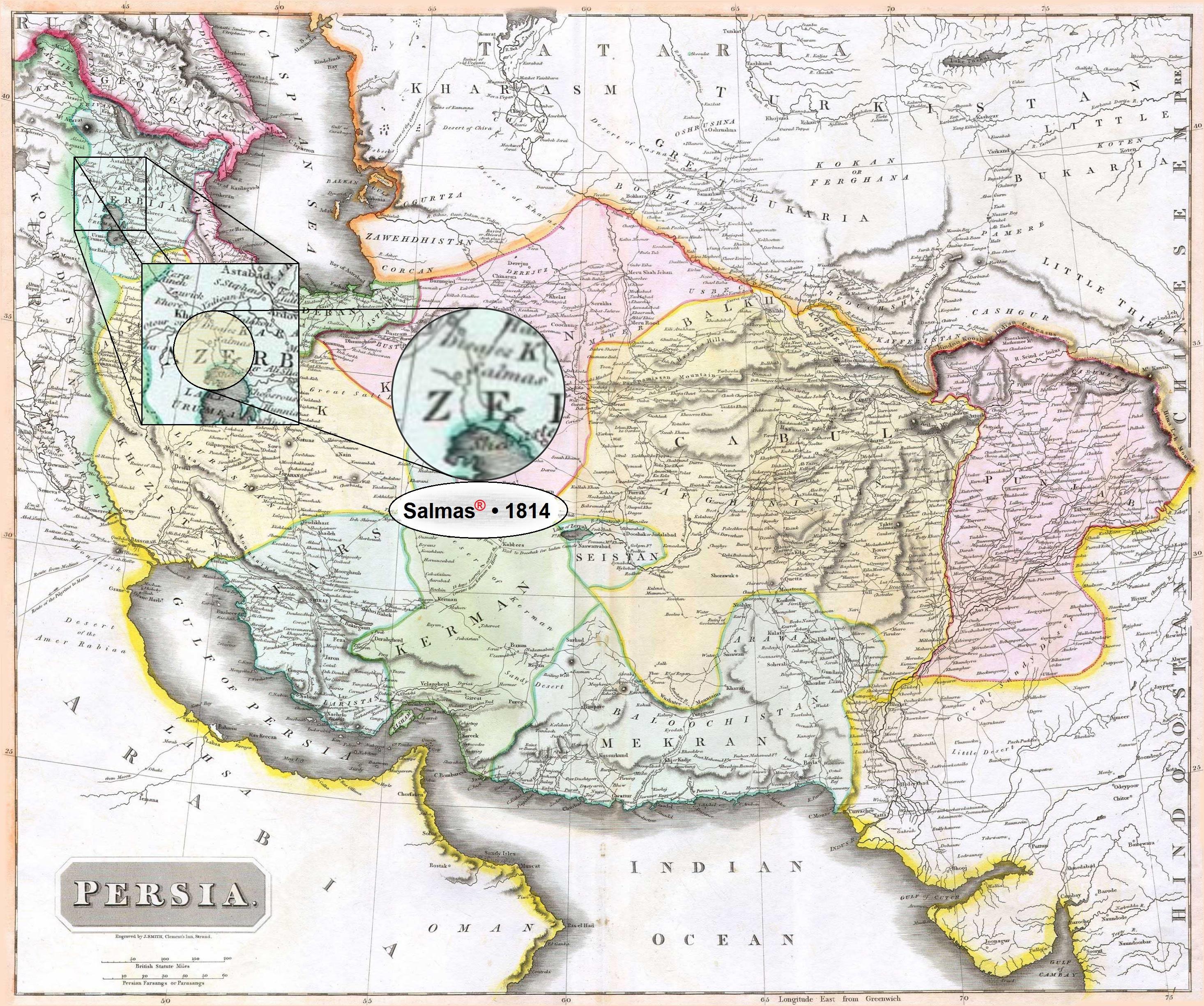 "Persian Empire: File:Salmas In 1814 Thomson Map Of The ""Persian Empire"