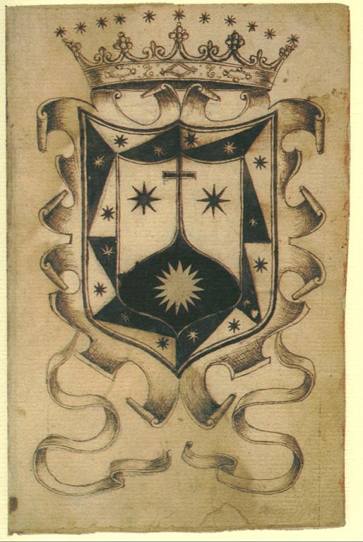 Escudo grabado en una hoja del Manuscrito de Sanlúcar.