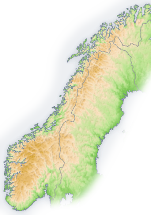 Outline Of Norway Wikipedia - Norway topographic map