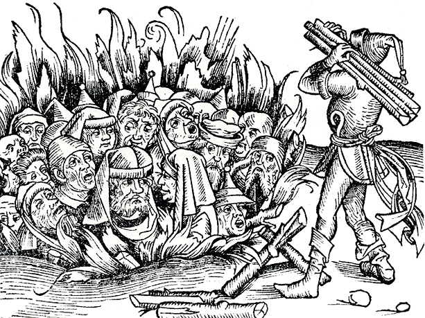 Verbrennung von Juden aus der Weltchronik von Hartmann Schedel (1493)