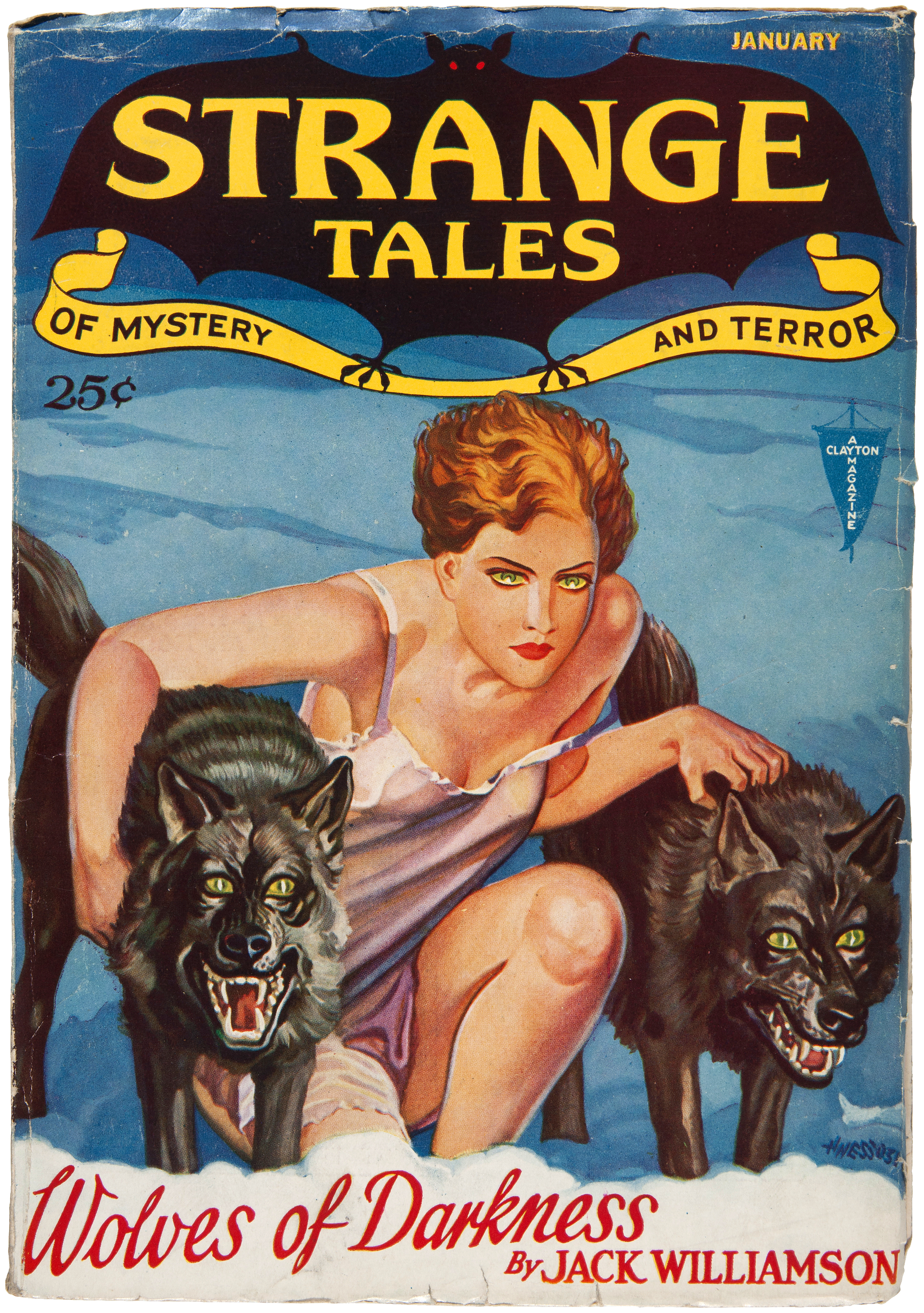 "Williamson's novella ""Wolves of Darkness"" was the cover story in the January 1932 issue of Strange Tales Strange tales 193201 v1 n3.jpg"