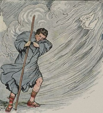 "In this illustration by Milo Winter of Aesop's fable, ""The North Wind and the Sun"", a personified North Wind tries to strip the cloak off of a traveler."
