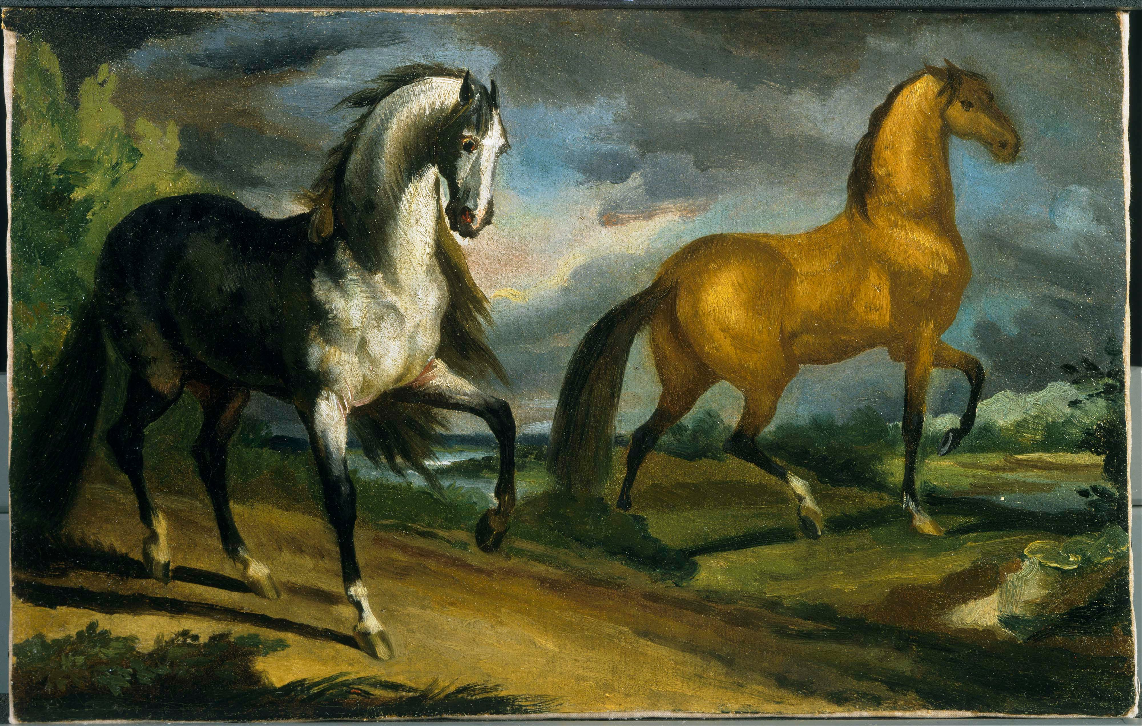 File Theodore Gericault Two Horses Google Art Project Jpg Wikimedia Commons