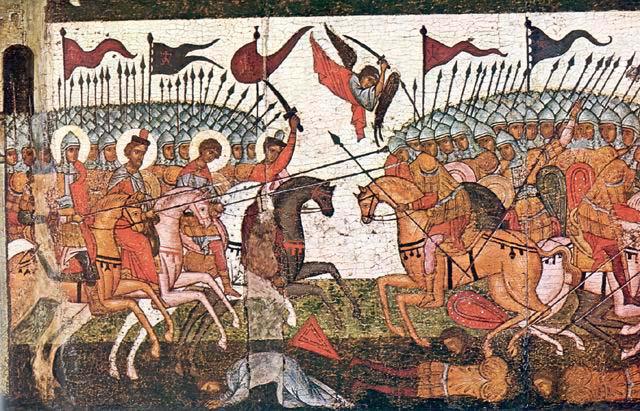 Битва новгородцев и суздальцев в 1170 году, фрагмент иконы 1460года