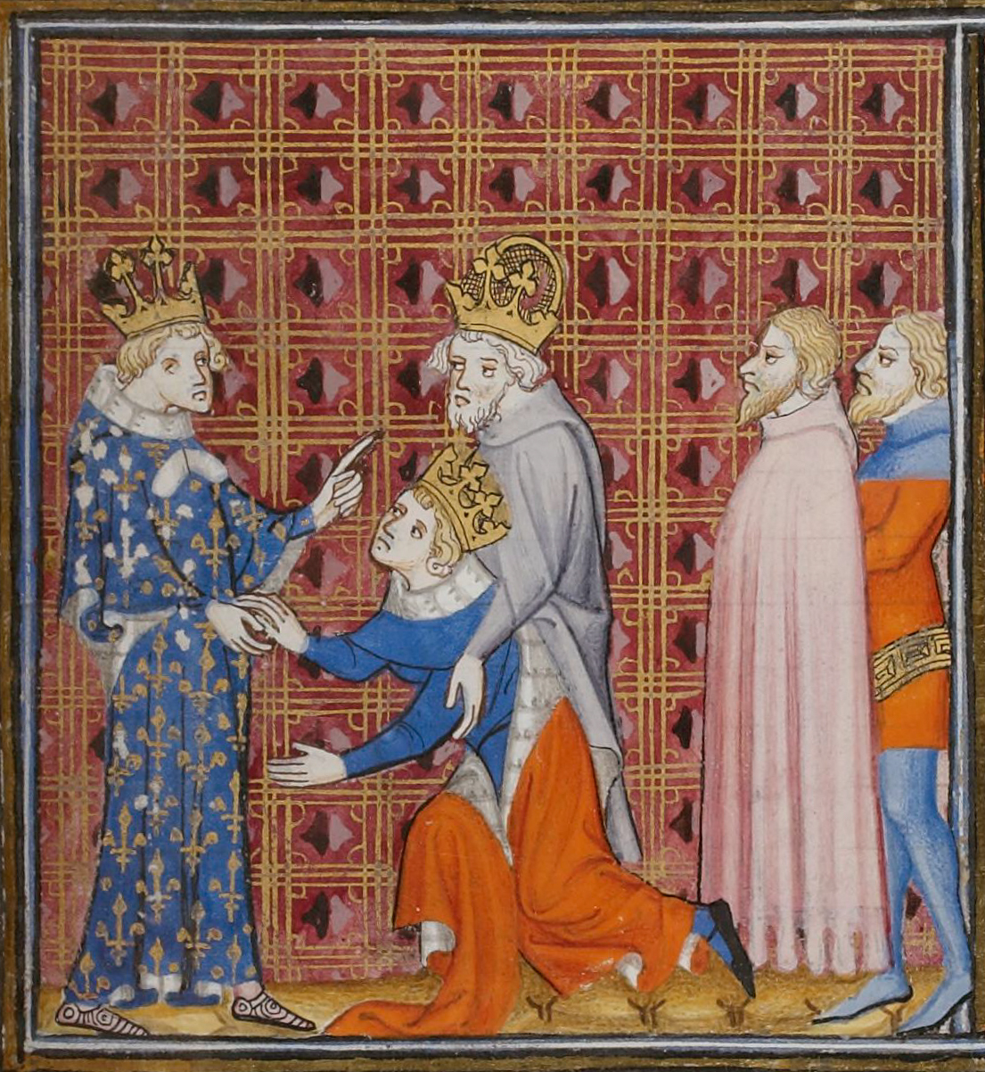 Charles gave his name to his nephew, Charles IV, Holy Roman Emperor, shown here giving homage to his patron. Wenceslaus IV Charles V of France Emperor Charles IV.jpg