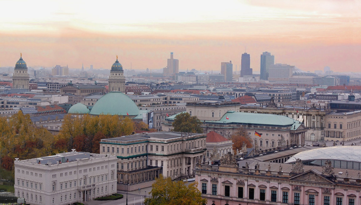 BUnter den Linden in Berlin at sunset, Germany