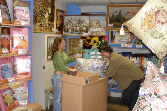 Dans un commerce d'oreillers en Russie