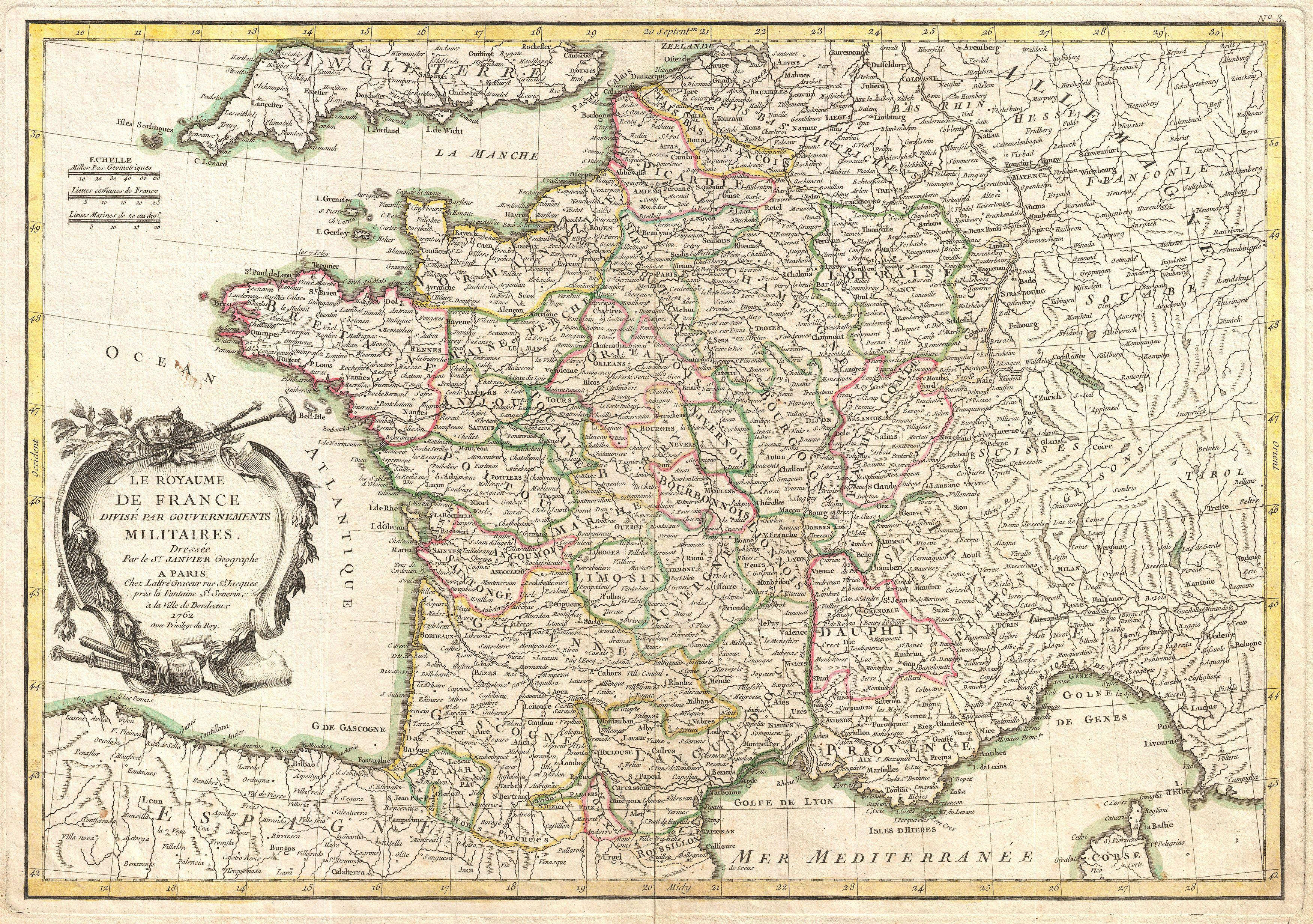 Old Map Of France.File 1762 Janvier Map Of France Geographicus Francemil Janvier