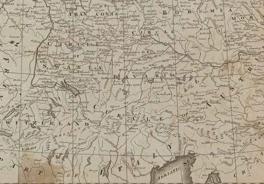 File1800 Chur detail of map Empire of Germany with 13 Cantons of