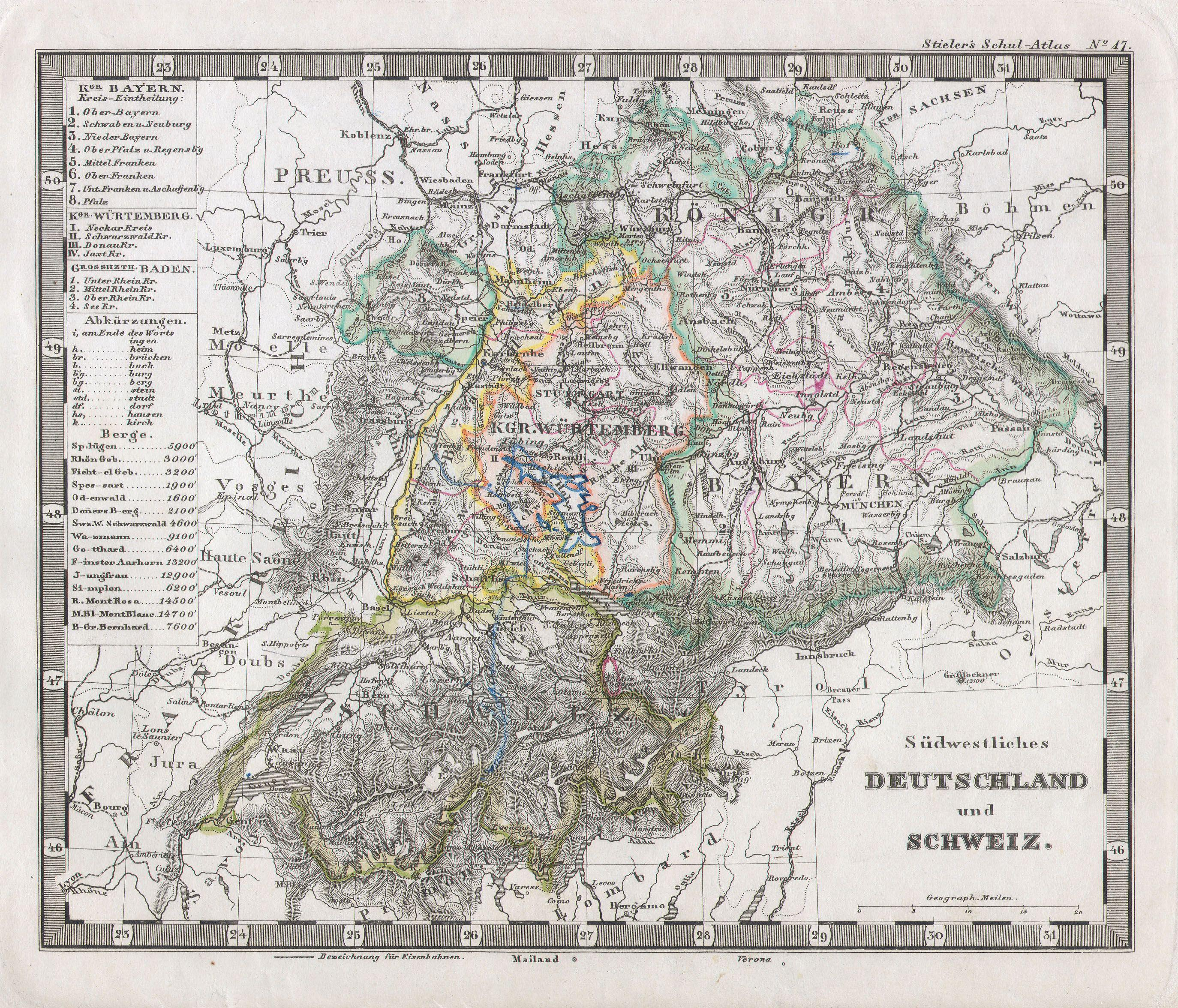 File1862 Stieler Map of Southern Germany and Switzerland – Southern Germany Map