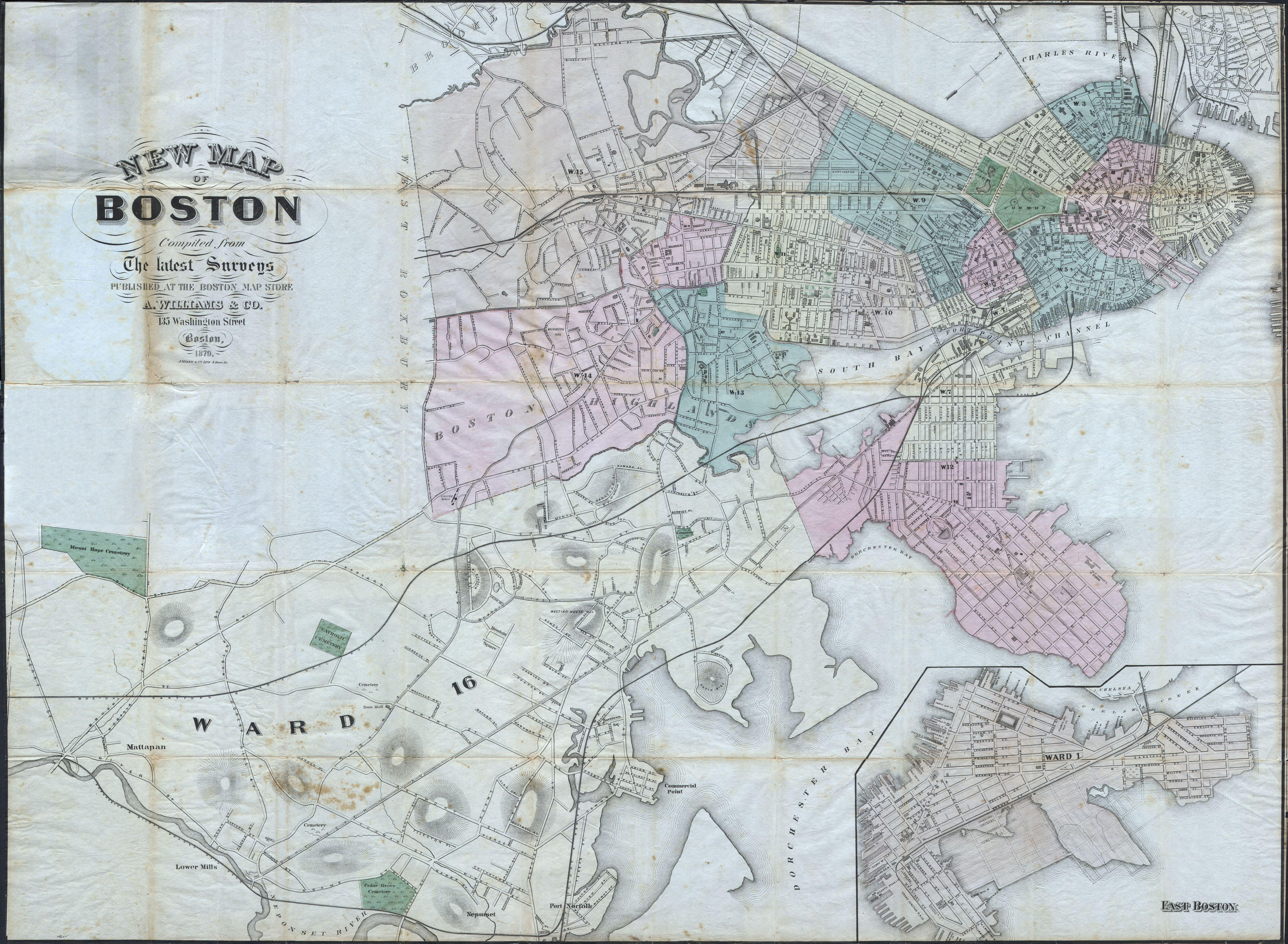 File 1870 Williams Pocket Map or Plan of Boston Massachusetts Geographicus