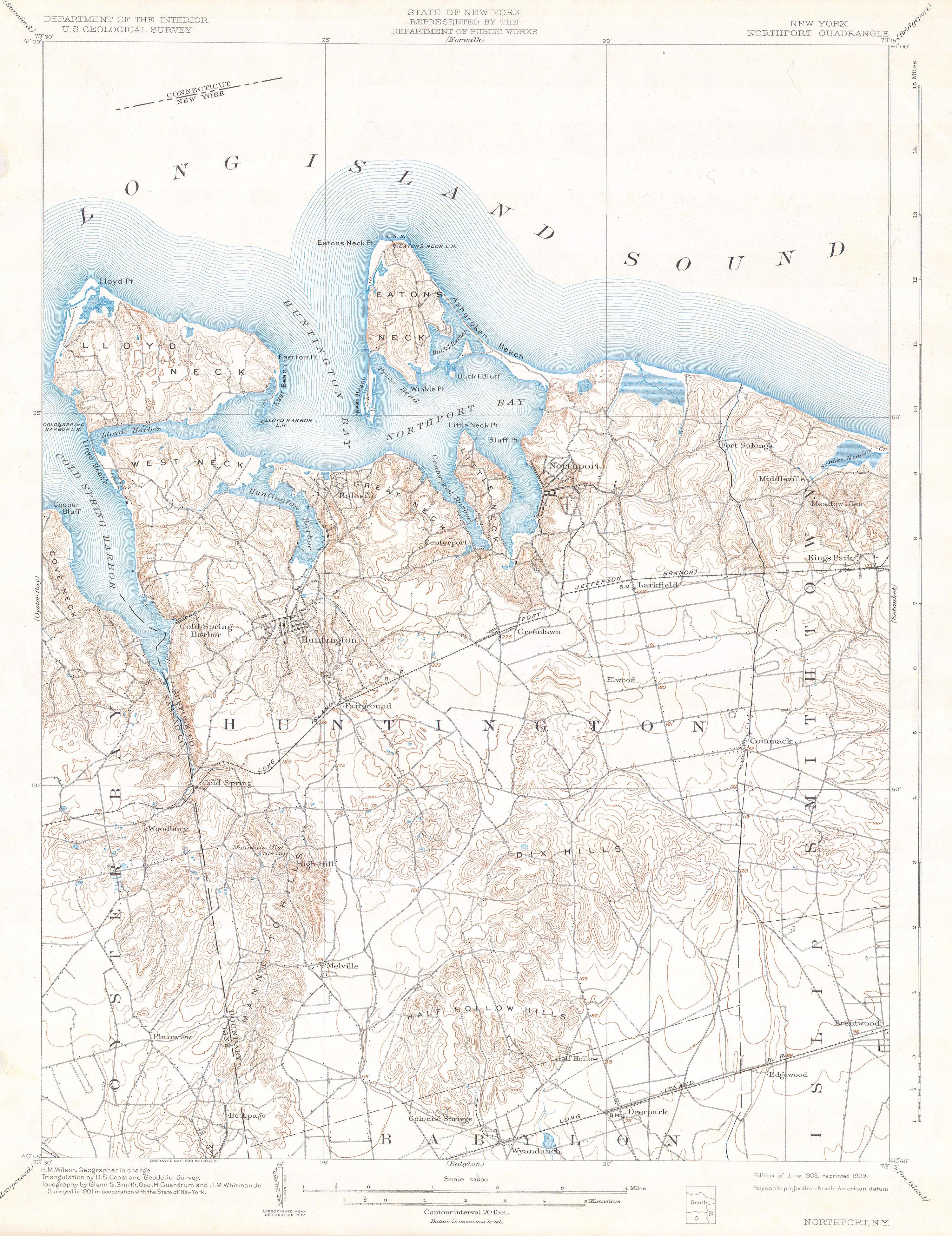 Department Of The Interior Organizational Chart: 1900 U.S.G.S Map of Huntington and Northport Long Island ,Chart