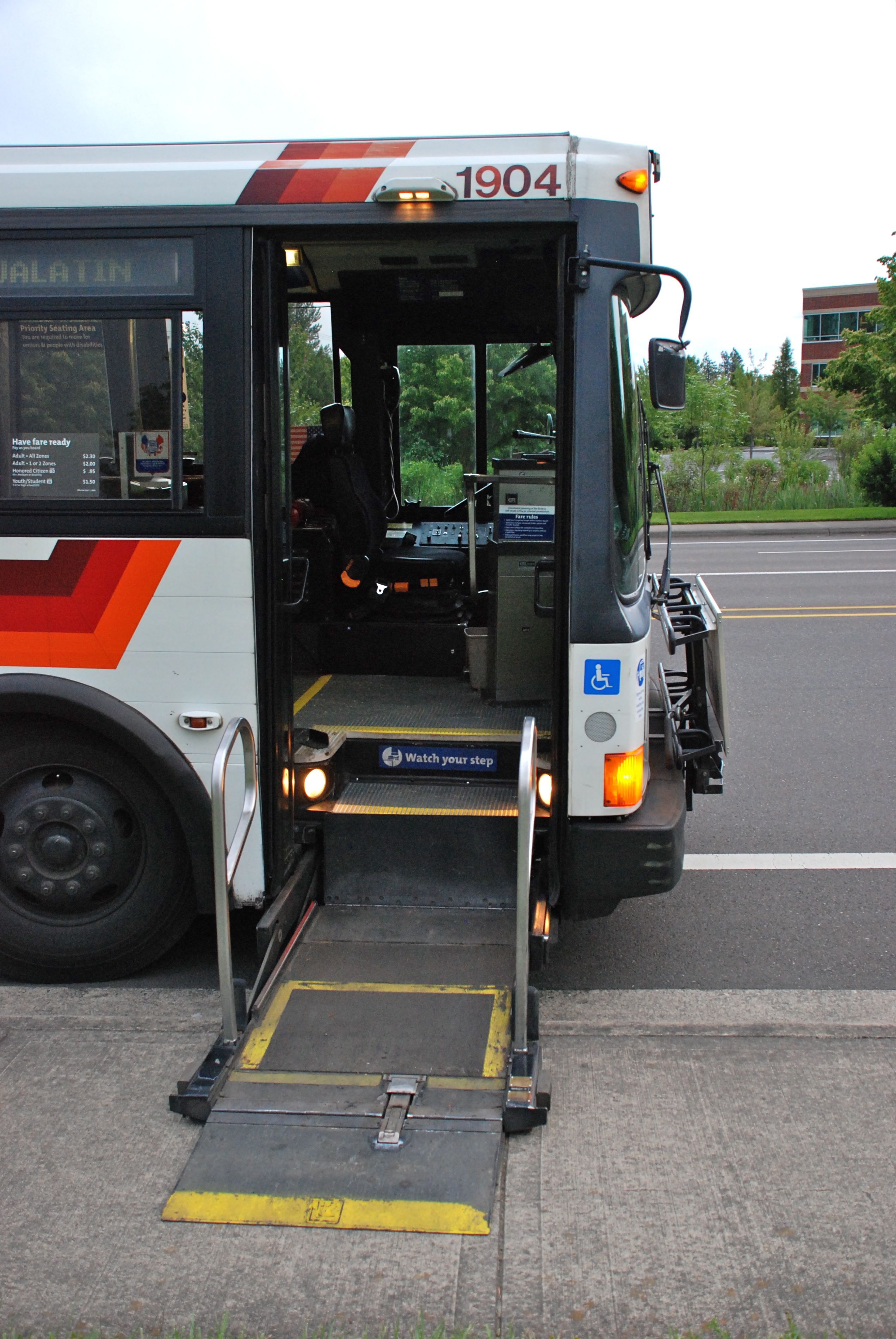 File 1992 Flxible Metro bus with wheelchair lift fully lowered