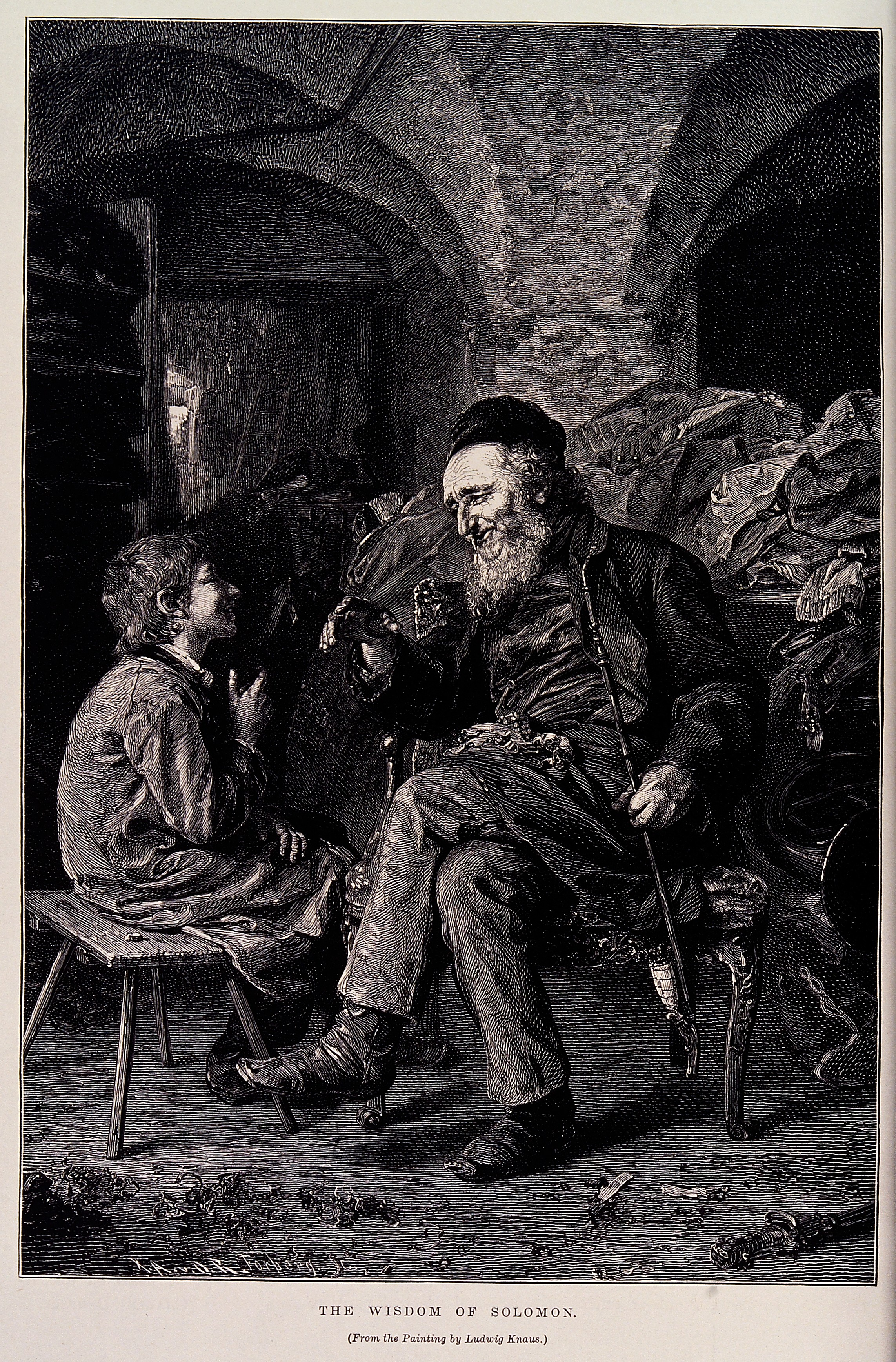 A young boy listens to an old man