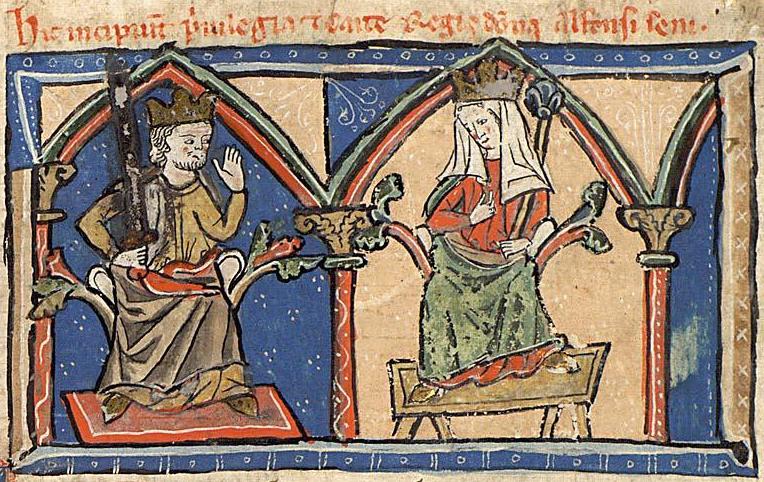Miniatura medieval de Alfonso IX y Berenguela