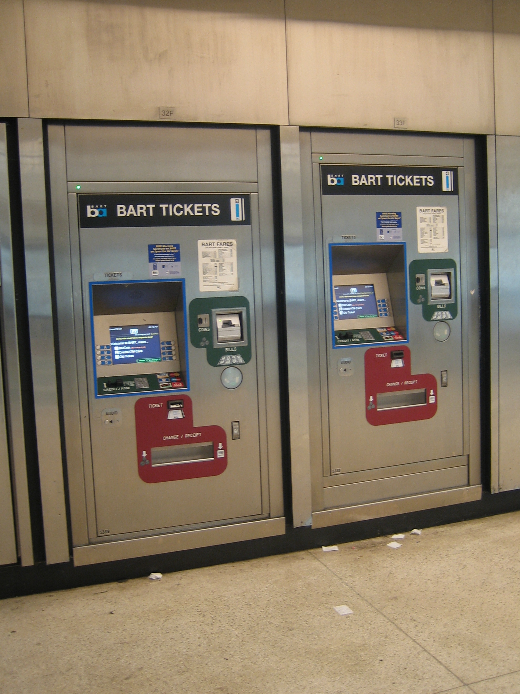 Ticket vending machines at the Powell Street Station