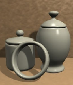 A collection of objects modeled with the spin tool