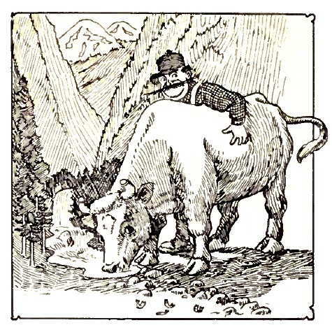 """Illustration of Paul Bunyan and his Blue Ox, Babe by William B. Laughead from """"Paul Bunyan and His Blue Ox."""" Photo courtesy of Wikimedia Commons"""