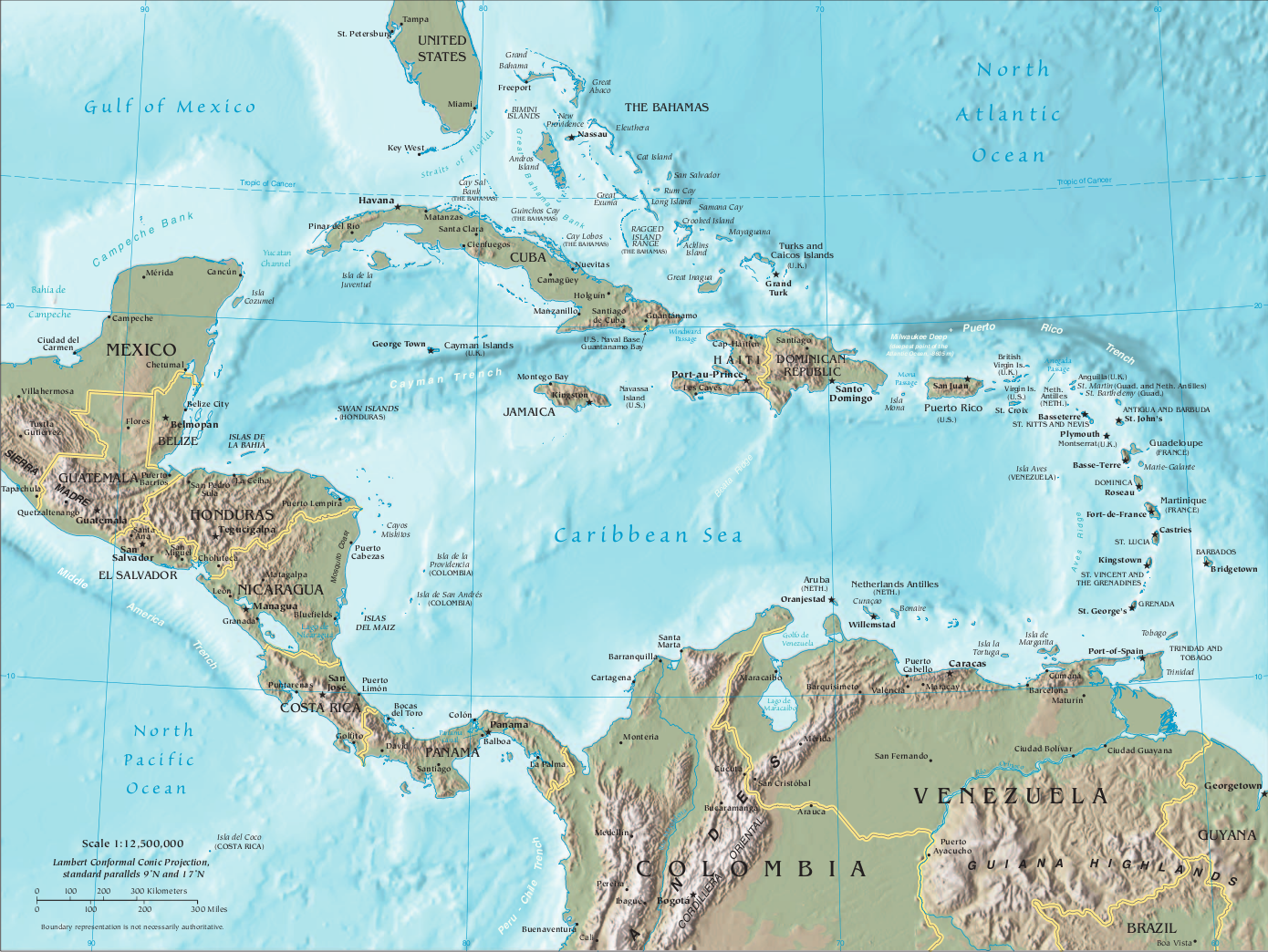 Piracy in the caribbean wikipedia central america and the caribbean detailed pdf map sciox Image collections