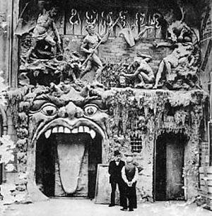"""<i>Cabaret de LEnfer</i> former cabaret in Paris, France, next door to the """"Cabaret du Ciel"""""""