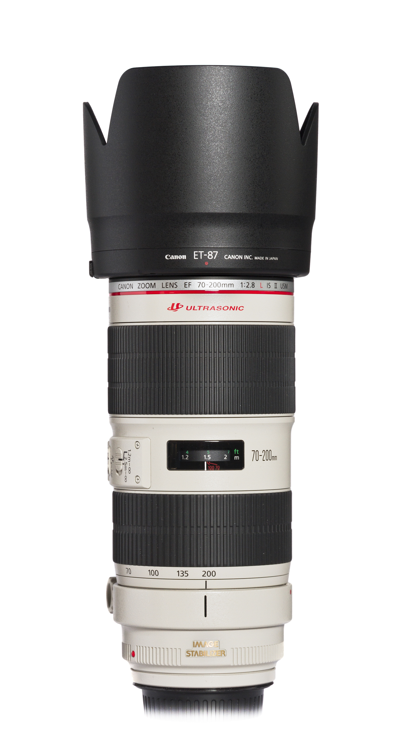 Canon EF 70–200mm f/2.8L IS II USM with lens hood