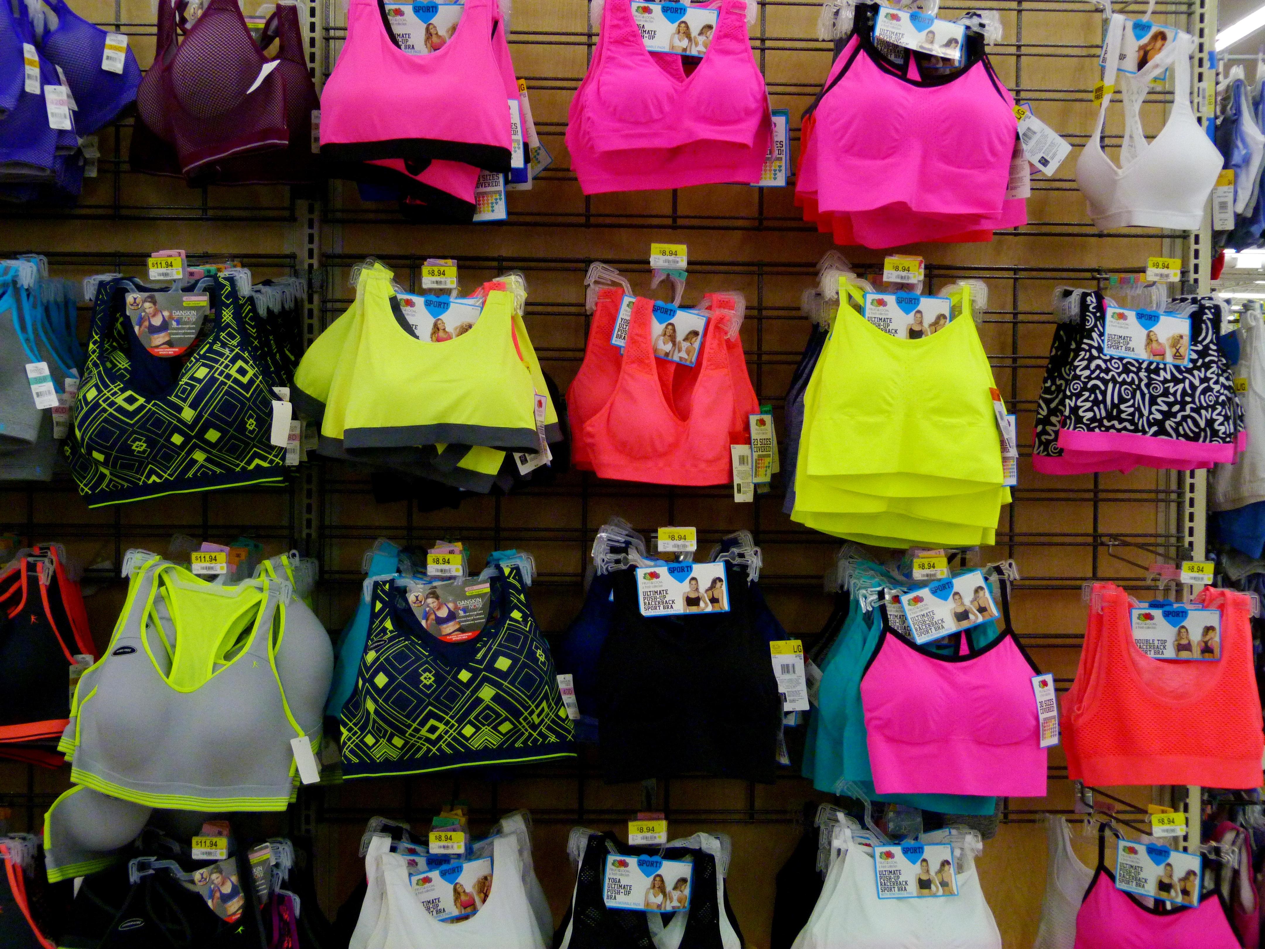File:Colorful sports bras in Walmart.jpg - Wikimedia Commons