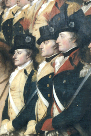 Detail of Surrender of Lord Cornwallis by John Trumbull, showing Colonels Alexander Hamilton, John Laurens, and Walter Stewart Detail of Trumbull's Surrender of Lord Cornwallis.png