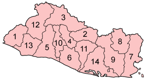 Map o the depairtments o El Salvador in alphabetical order.