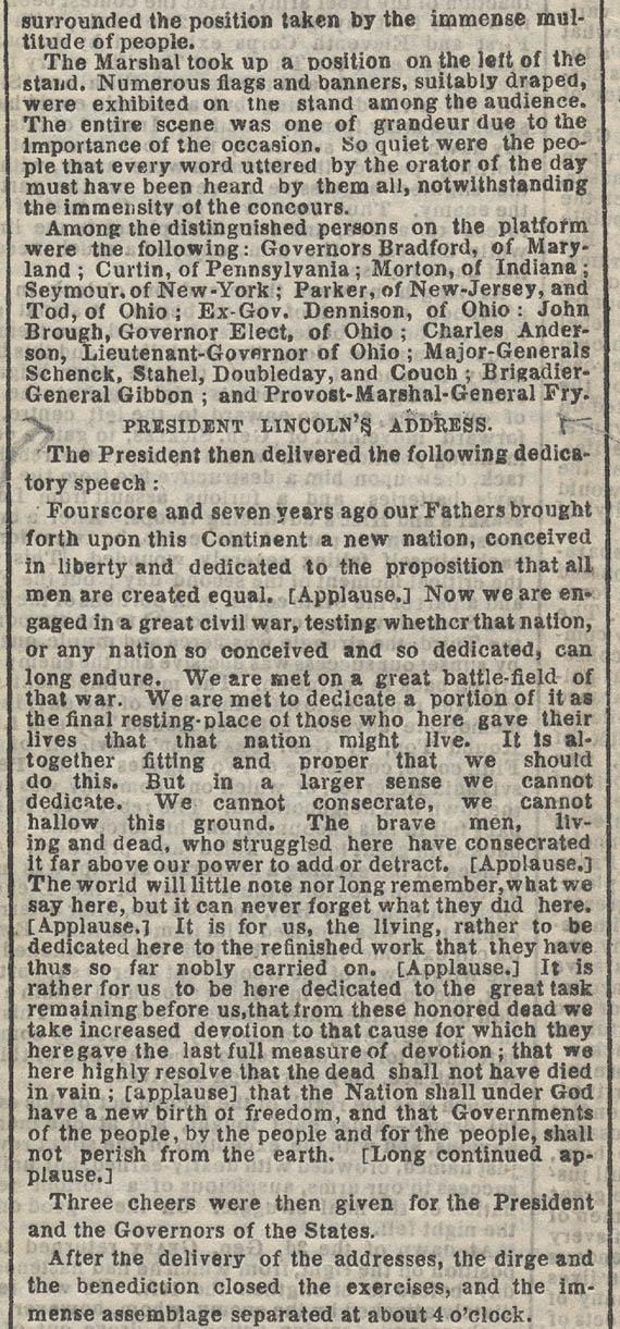 the gettysburg address summary
