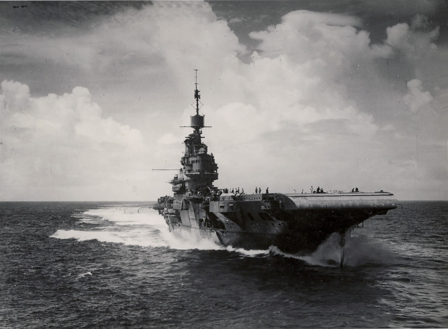 The 1940s HMS Illustrious (R87) sailing in the Indian Ocean in 1944.  Courtesy of Wikimedia Commons.