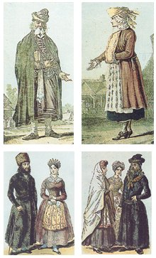 Jewish dress in 17th (top) and 18th centuries