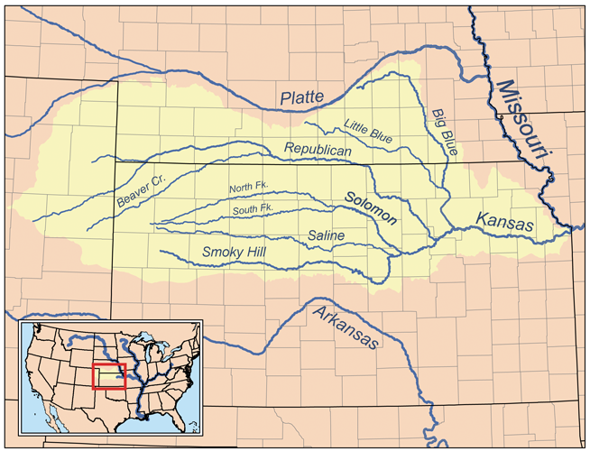 Kansas River Wikipedia - Us map with cities and rivers