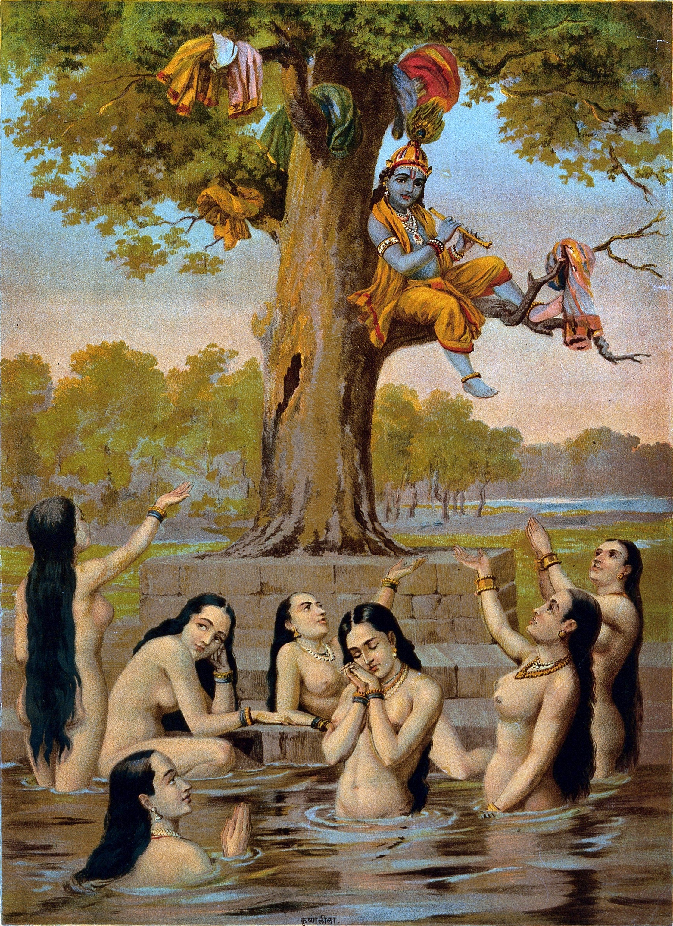 File:Krishna sitting in a tree with all the gopis clothes