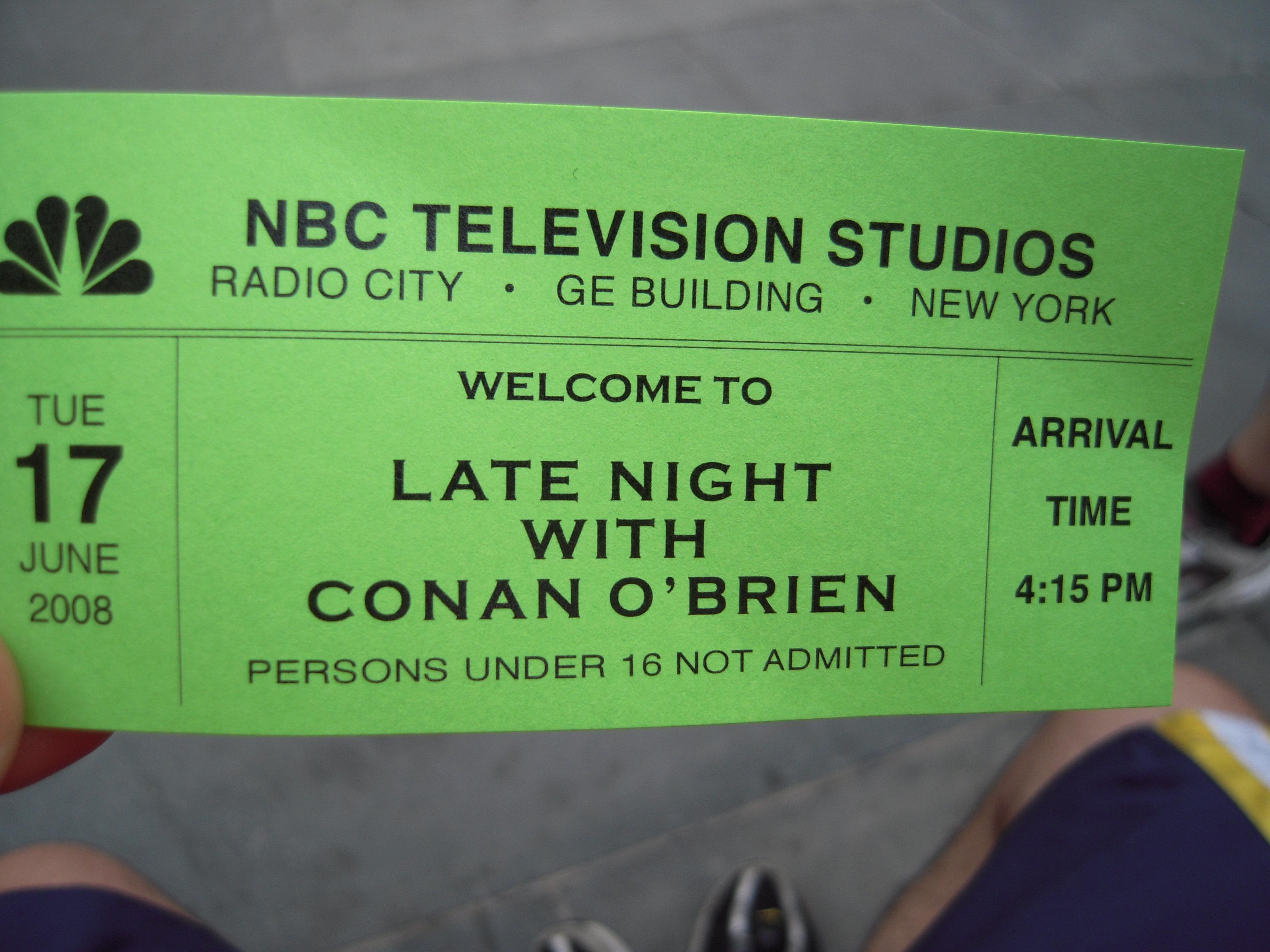 File:Late Night Conan O'Brien ticket.JPG - Wikimedia Commons